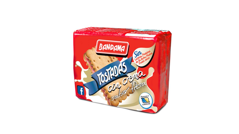 tostadas con crema sabor fresa Galletas Bandama